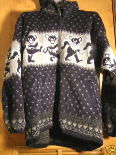 Grateful Dead Dancing Bears Alpaca Gray Blue Fur Hoody